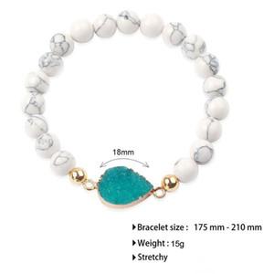 Pierre naturelle perles Bracelets pour femmes Résine Pierre Druzy Charm colorée Blanc Perle Turquoise Bracelet 8MM perles bijoux en gros 2019