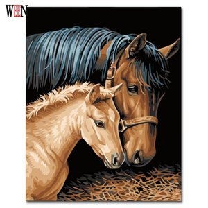 WEEN Horse Couples Painting By Numbers Kits DIY Coloring Painting By Numbers Drawing Paint On Canvas para la decoración del hogar WallArt