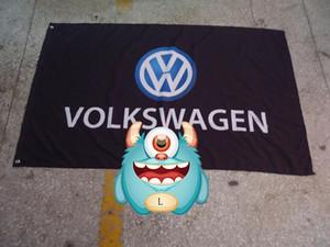 volkswagen bandiera nera squadra corse, volkswagen striscione nero, 90 * 150CM polyster flagking marchio bandiera 100% poliestere 90 * 150cm, Stampa Digitale