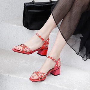 FEDONAS 2020 Fashion Women Ankle Strap Sandals Summer Square Heels Shoes Woman Metal Rivets Party Prom Slip On Shoes Woman