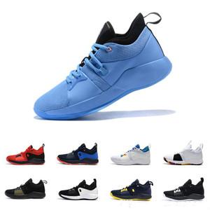 2019 Yeni Tüm Beyaz Siyah Spor Sneakers Varış Paul George 2 PG II Basketbol Ayakkabı için Ucuz üst PG2 2 S Yıldızlı Mavi Turuncu