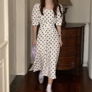 summer dress Women Casual Polka Dot Print A-Line Party Dress Eleagnt lace-up Slim vestidos verano mujer robe femme sukienki