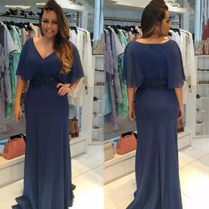 Plus Size Vintage Mother of Bride Groom Dresses 2019 V Neck Half Sleeves Sheath Chiffon Long Mother Dresses Formal Evening Gown