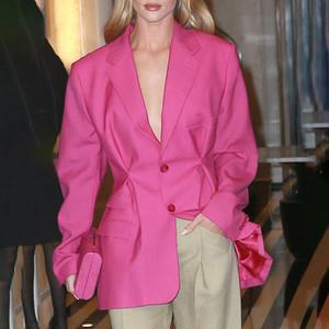 Neue, qualitativ hochwertige Frauen schicke Blazer Langarm V-Ausschnitt weibliche lange Mode Blazer Anzug Streetwear Kleidung A57