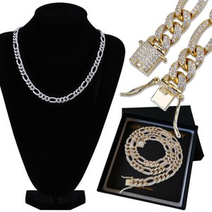 New 18K Gold Plated Full CZ Zirconia Mens Copper Chain Necklace 10mm Diamond Silver Gold Hip Hop Punk Rock Jewelry Gifts for Boys Wholesale