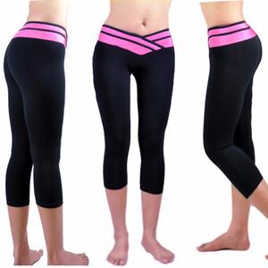 Pantalon de yoga pour femmes Leggings taille haute Sport Running Pants Athletic Workout Fitness Training Ceinture Capri Leggings Pant