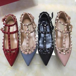 Горячая распродажа-2019 женщины плоские туфли платье острым носом обувь пряжки платформы насосы свадебные туфли черный