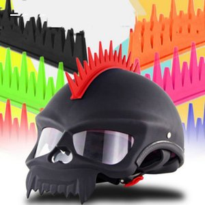 Motorcycle Biker Helmet Sticker Mohawk Spike Strip Stick On Black Blue Orange Red GreenkG