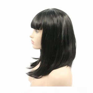 L Short Black Bob Women Wigs With Bangs Glueless Heat Resistant Fiber Natural Black Shoulder Length Lace Front Synthetic Wig For Black