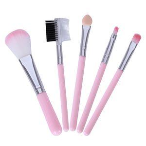 Pinceles de maquillaje de color rosa para principiantes herramientas del Kit de sombra de ojos Eyeliner de la ceja labio de la pestaña del cepillo del maquillaje de 5 PC / porción