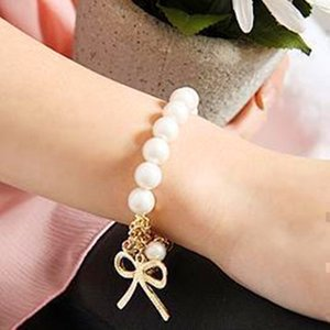 Imitation Simulated-Pearl Bowknot Bangle Bracelet Fashion Exquisite Cute Lovely Charm Bijoux 2018 Jewelry