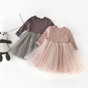 Ropa de diseñador para niños niñas Star Princesa de punto vestido niños Tutu lace Vestidos de manga larga 2019 Primavera otoño bebé Ropa C6876