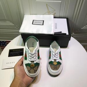 Crianças Designer de Tênis Meninas de Luxo Botão de Metal Impressão Sapatos Baixos Meninos Listras Sapatos de Skate Sapatos Antiderrapantes Adolescentes EUR 26-35 alta qualidade