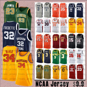 NCAA Maryland 34 Len Önyargı 32 Jimmer Fredette Jersey 23 James Jersey Bryant 15 Leonard Koleji Basketbol Formalar köri
