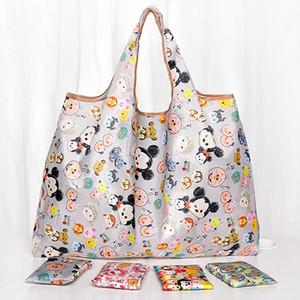 58 * 65cm pieghevoli fumetto sveglio sacchetti di acquisto ecologico del poliestere di stampa Leggero borse riutilizzabili Portable Shopping Bags DH1039 T03
