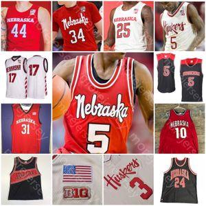 Personalizzato Nebraska Cornhuskers Basket Jersey NCAA College Dachon Burke Jr. Cam Mack Haanif Cheatham Verde Kevin Croce Kavas Thorbjarnarson