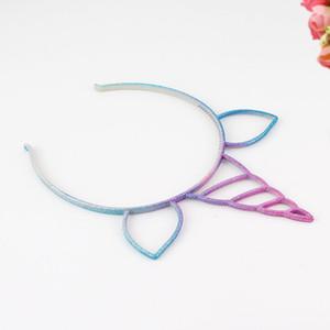 Adorável unicórnio Sete Cores Cabeça Hoop Moda Banda Cabeça Brilhante Pó Resina Acessórios Para o Cabelo Gato Ear Hoop Festival 1yc k1