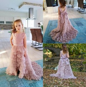 2019 New Blush Pink flower girl dresses jewel neck a line first holy communion dresses ruffle skirt backless girl pageant dresses