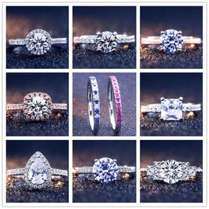 Joyería del anillo 925 de disco de plata del anillo de bodas regalo de las mujeres para Pandora Firma conjunto Pave anillo de la caja original
