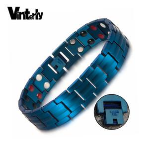 Bracciale Uomo ewelry Accessori Vinterly blu magnetico Bracciale Uomo di collegamento Chain acciaio inossidabile Salute Energia germanio Hologram Mens Br ...