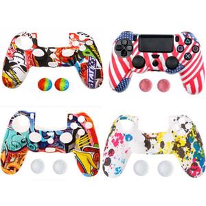 Para Sony Dualshock 4 PS4 Magro Pro Pele Controlador Silicone Camo Caso protetor + polegar da vara Caps para Play Station 4