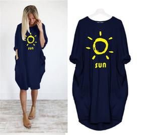 Harf Baskı Tasarımcı Kadınlar Elbiseler Artı boyutu Gevşek Günlük Numune Tişört Elbiseler İlkbahar Yaz Moda Kadın Elbise