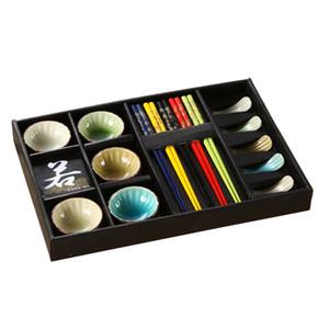 Японские керамические Sushi Сервировка Набор для 5 человек с Закуски Соус Блюда Палочки Rest смешанный цвет Crackle Glaze конструирует