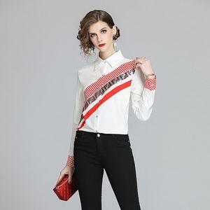 New Chic 2020 Frühlings-Runway Damenmode Pailletten-Druck dünne Hemden Oberseiten-beiläufige Büro-Damen-Knopf Langarm-Down-Ansatz-OL Bluse Drehen