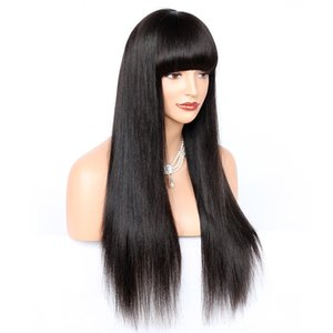 Glueless Lace Front Wigs 180% Density Brazilian Remy Human Hair Yaki Straight With Full Bangs Lace Wig For American