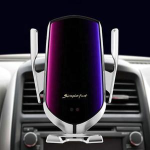 شاحن لاسلكي سيارة R1 التلقائي لقط لفون الروبوت تنفيس الهواء حامل الهاتف 360 درجة دوران 10W شحن سريع الهاتف الذكي