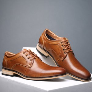 REETENE Lace Up Dress Shoes Brown Men Basic shoe Fashion Genuine Cow Leather Men Ankle Boots Leather Men Shoes Male Shoes