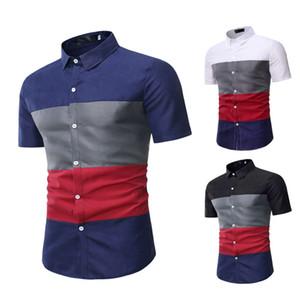 Couleur Tôlé Mens Designer Chemises De Mode Mince Quatre Couleur À Manches Courtes Chemises Hommes Casual Revers Cou Tops