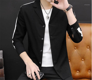 Striped Print Slim Mens Blazers Long Sleeve Mens Lapel Neck Single Breasted Outerwear Fashion Contrast Color Mens Suit