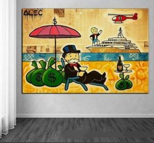 -vA. Tuval Wall Art ev Deco G74 üzerinde Zengin ve Ünlü yaşam tarzımıza Boyama Alec Tekel handpainted / HD Baskı Özet Graffiti Sanat Yağı