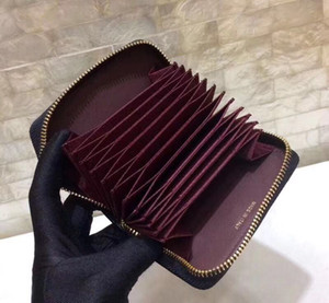 titolare della carta Classic signore calde francese grande sacchetto di carta di credito di design in pelle di qualità high-end per creare zip portamonete di moda stile casual