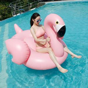 Addensare piscina gonfiabile gigante del fenicottero galleggia la piscina del partito degli adulti della zattera del tubo che nuota 205 * 200 * 128cm Flamingo fa galleggiare la zattera BH1069-1 TQQ