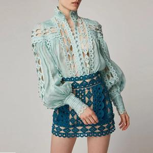 Francês estilo feriado rendas rendas pesado frisado A-linha saia + camisa de colarinho beading manga Lantern