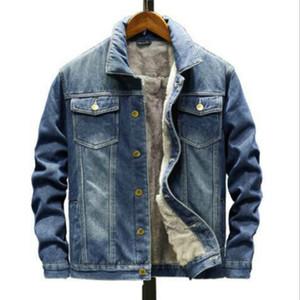 2020 Men Jacket Fashion MensJean Jackets Warm Fleece Denim Jacket winter Outwear Male Cowboy top Coat Plus Size 5XL