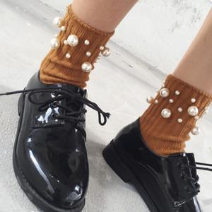 HUI GUAN New Preppy Chic Thick Vertical Stripes Original Pérola Decoração Fashion Women Socks macias elásticos Todos os meias de algodão