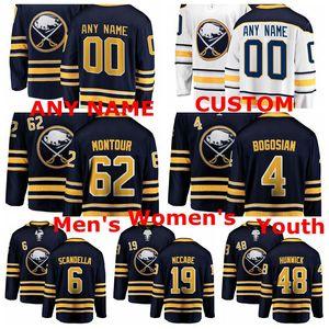 Buffalo Sabres Jersey Zach Bogosian Jersey Matt Hunwick Jake McCabe Marco Scandella Montour Bleu Blanc Hockey sur glace chandails personnalisés Cousu