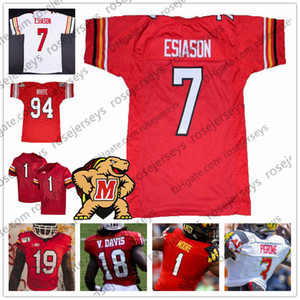 NCAA Maryland Terps # 1 DJ Moore 7 Boomer Esiason 18 Vernon Davis 94 Randy Weiß Rot Vintage College Football Retro Jersey