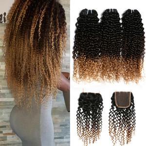 Ombre İnsan Saç Dantel Kapatma 3 Paketler Afro Kinky Kıvırcık Sarışın Uzantıları ucuz 1B / 4/27 Malezyalı Virgin Kıvırcık Ombre örgüleri Kapatma ile