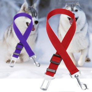 Haustier-Sitzsicherheitsgurt Dog Einstellbare Auto-Träger-Sicherheits-Sicherheitsgurt 2,5 cm Breite verstellbar Länge Hund Seatbelt-Ketten-Hundehalsbänder LXL775