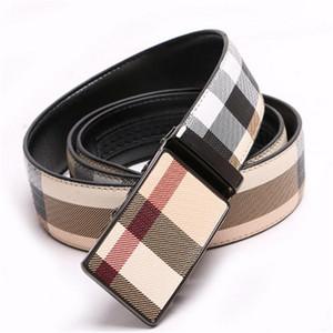 2018 NEUE Mann-Qualität LuxuxMens Gürtel automatische Schnalle echtes Ledergürtel für Männer Striped Designer Gürtel
