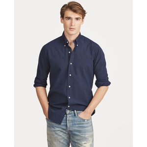 lauren ralph polo Ralph lauren mens Designer maniche lunghe Stati Uniti d'America Marca RL Polo Camicie da uomo casual camicia Solid T-shirt stampate sociali nuovo modo di arrivo