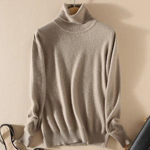 TONFUR tricot à col roulé Automne Hiver Pull Femmes, match de base mélange cachemire Femme col montant solide overs T190922