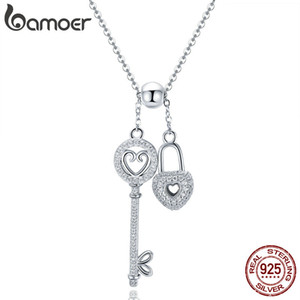 Bamoer Romantic 925 Sterling Silver Key of Heart Lock Chain Colares Para Mulheres Sterling Silver Silvery Collar SCN290