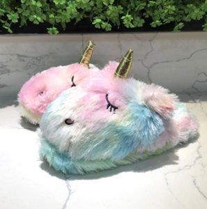 Licorne pantoufles colorées maison remorque coton peluche hommes et femmes couple glissement revêtements de sol pantoufles intérieur chaud Unicorn
