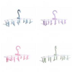 Faltbare Plastikkleidung, die Aufhänger-Unterwäschesocke 12 Klipp-Kleidungs-Speicher-Gestelle Multifunktionswindschutz 2 8gs E1 trocknet