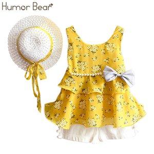Humor Oso Juegos de niñas Ropa de verano Abrigo + pantalones cortos + sombrero Ropa para niños 3pcs Traje Q190523